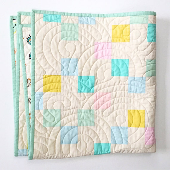 Pieced Heirloom Stroller Quilt - Plus One in pastel - READY-to-SHIP
