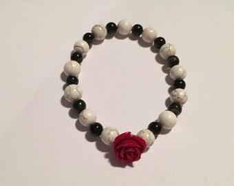 Red Stone Rose w/Howlite & Black Onyx