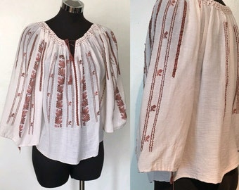 Hand Embroidered Gauze Romainian Peasant Blouse US Size 2 - 4