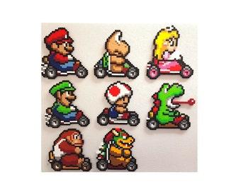 Mario Kart, perler, 8 bit, perler bead art, Mario, Donkey Kong, Peach, Yoshi, Koopa, Bowser, goomba, toad, Super Mario Kart, Nintendo
