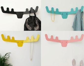 Faux Deer Head / Coat Rack / Modern Coat Hanger / Wall Decor / Wall Hooks / Scandinavian Design