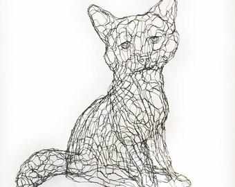 Fox Cub 3D Wire Sculpture by Elizabeth Berrien