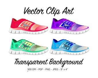 Running Shoe Clip Art - Running Shoe Clipart, Tennis Shoe Clipart, Sneaker, Running Clipart, Workout Clip Art, Fitness Clip Art, Marathon