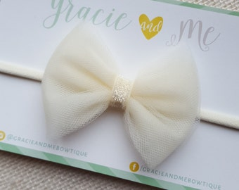 Ivory Tulle Bow with Sparkle Center on Ivory Nylon Headband - One Size Fits All - Winter - Christmas - Holiday Headband - by Gracie and Me