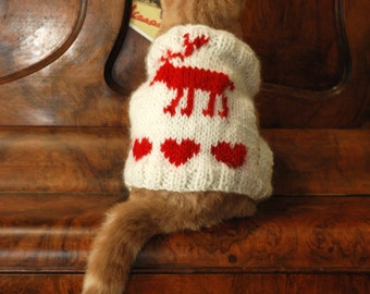 Crochet Elf Cat Sweater Ugly Christmas Sweater for Cats