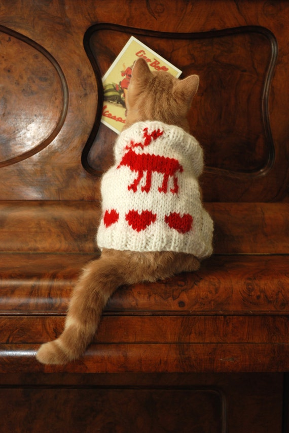 knit cat sweater reindeer