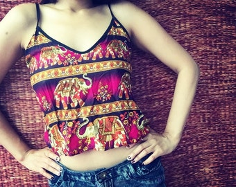 Xs Boho Elephants print Crop top Gypsy print fabric bohemian Hippies tribal Design for Holiday Summer festival women in pink purple red