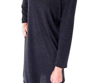 Knit dress, long sleeve, grey, handmade