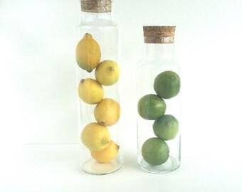 S A L E   Vintage Modern Corked Glass Apothecary Storage Jars Set of 2