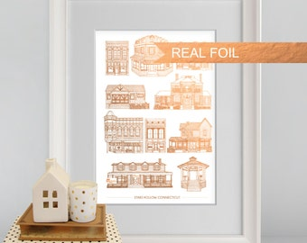 Custom Rose Gold Stars Hollow Houses, Gilmore Girls, A4 cityscape print, Luke's Diner, Gilmore girls poster, architectural print