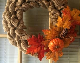 """Fall Burlap Wreath 15"""""""