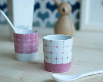 Cups coffee, pink, graphic, set of 2, hand-painted, porcelain