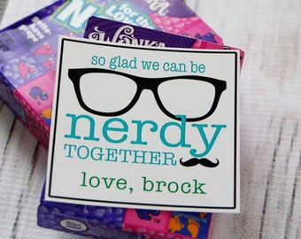 Valentine Printable - So Glad We Can Be NERDY together! - PERSONALIZED - Blue and Green - Nerds Valentine