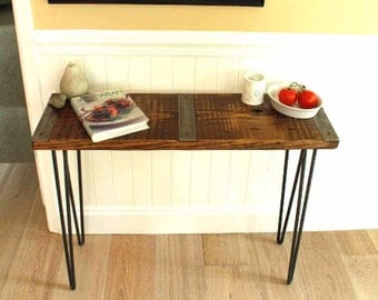 Metal Inlayed Reclaimed Wood Sofa Table With Hairpin Legs, Sofa Table,  Reclaimed Wood Sofa