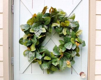 Magnolia Wreath ~ Silk Magnolia Leaf Wreath ~ Farmhouse Wreath ~ Southern Wreath ~ Front Door Wreath ~ Fixer Upper Decor ~ Wedding Gift