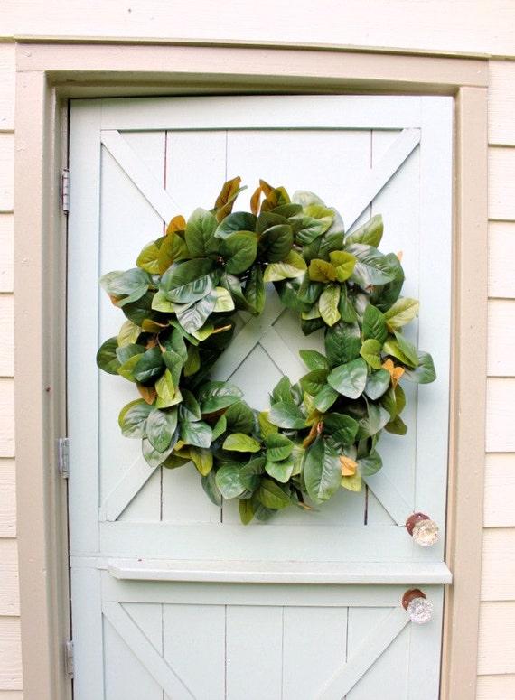 Magnolia Leaf Wreath: Magnolia Wreath Spring Wreath Farmhouse Decor Front Door