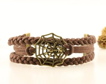 Bronze spider bracelet Spider web bracelet Creepy crawly charm Halloween jewelry Halloween spider bracelet Cute halloween gift for teens