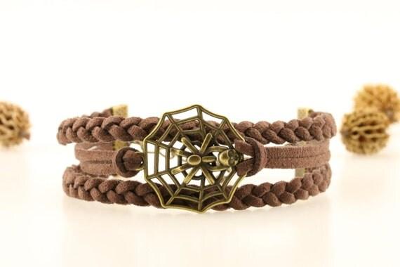 Bronze spider bracelet Spider web bracelet Creepy crawly charm Halloween jewelry Halloween spider bracelet Cute halloween gift for teens