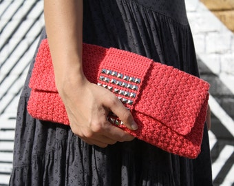 Coral envelope clutch with studs / studded purse