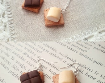 S'mores friendship necklace set, miniature food jewelry, s'more necklace, marshmallow, bff necklace, best friend, kawaii necklace