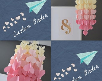 Upside Down Ombre Heart Paper Mobile Chandelier. Choose your colors!