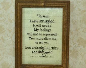 Pride and Prejudice, In vain I have struggled... Jane Austen, classic literature,  5x7 Framed Wall Art, Elizabeth Bennet, Fitzwilliam Darcy