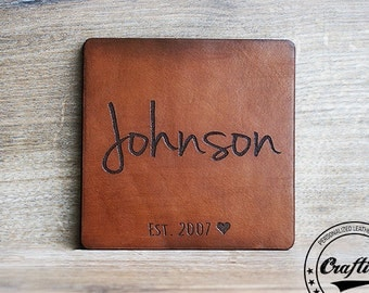 Personalized Coasters, Leather Anniversary Gifts for Him, Third Anniversary, 3rd anniversary, Leather Anniversary, Leather Coasters