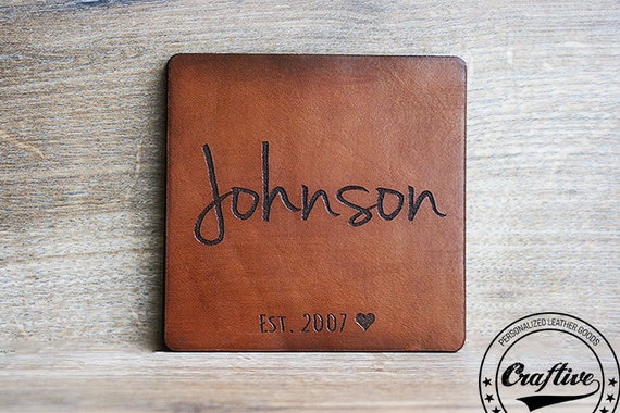 9th Wedding Anniversary Gift Ideas Her: Personalized Coasters Leather Anniversary Gifts For Him