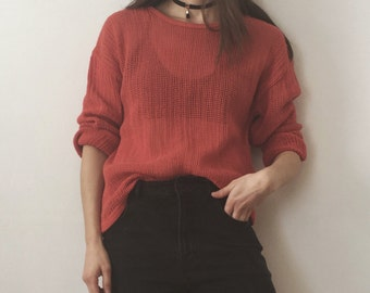 Vintage Chicos Faded Red Cotton Mesh Crew Neck Top Boxy Fit Size 2