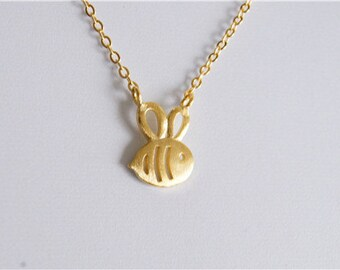 Necklace——925 Sterling Silver Bee Necklace, 18K gold palated little bee necklace,cute bee necklace