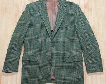 Vintage Men's Green Burgundy Plaid 3/2 Ivy Sport Coat by Palm Beach 39 - 40 Long