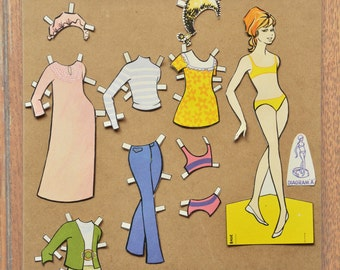 Vintage 1970's paper dress up doll