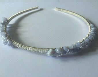 Asymmetric wire wrapped Blue Lace Agate beaded headband, gemstone headband, hair accessories, bridesmaid accessory,