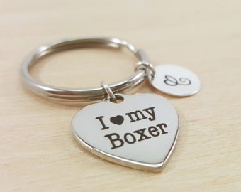 I Love my Boxer Keychain - Personalized Key chain - Initial Key Chain - Custom Key Chain - Personalized Gift - Gift for Him / Her