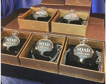 Groomsmen gift 5 Laser engraved pocket watches - Vintage personalized watch in gift box - Custom engraved gift -Wedding gifts for him