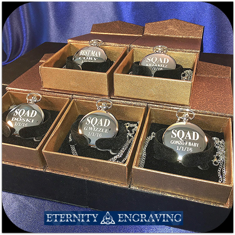 groomsmen gift 5 laser engraved pocket watches vintage