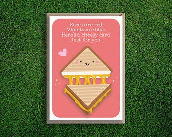 Greeting Cards | Roses are Red Romantic Card, Valentines Day, Cheesy, Grilled Cheese Sandwich, Cute, Funny, Silly, Quirky, Pun Card