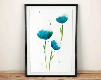 Watercolor Blue Flower Print