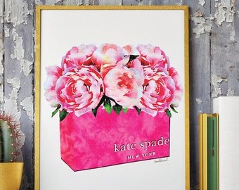 Printed fashion bag art Pink Peony watercolor illustration Kate, shopping bag art fashion illustration watercolour, pretty, girly, gift for