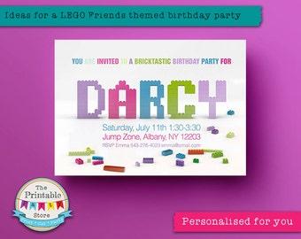 Lego Invitation | Lego party invite *PRINTABLE*  | Girls lego party | Lego Friends party | Lego birthday invitation | Lego Friends invite