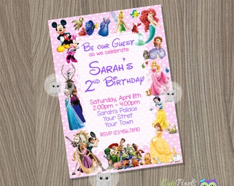 Disney Invitation, Disney Girl Invitation, Disney Characters Invitation, Disney Party, Disney Birthday, Disney Character Birthday Invitation