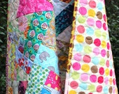 Modern Baby Quilt- Scrap Baby Quilt- Scrappy Quilt- Homemade Baby Quilt- One of a kind Quilt- Baby Girl Quilt- Unique Baby Gift-Boho Blanket