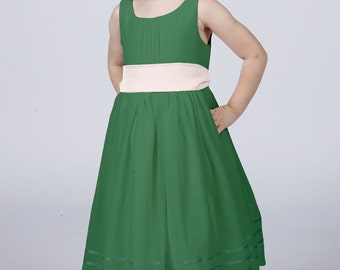 Emerald Green Flowergirl Dress with Complimentary Sash available in all colours by Matchimony