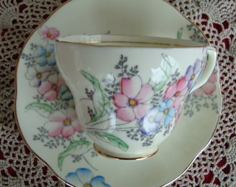 Foley English Bone China England - Vintage Tea Cup and Saucer - Made in England - Pink , Purple and Blue Flowers