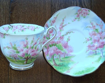 Blossom Time 2 Piece - Royal Albert Bone China England - Scenic - Trees with Pink Apple Blossoms - Starter/Replacement Pieces