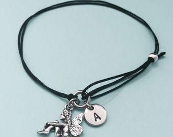 Fairy cord bracelet, fairy charm bracelet, adjustable bracelet, charm bracelet, personalized bracelet, initial, monogram
