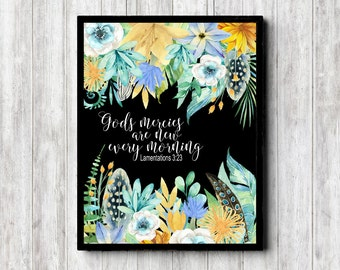 Floral Scripture Printable Wall Art - Lamentations 3 : 23 - God's Mercies Are New Every Morning -Watercolor Flowers / Feathers - Bible Verse