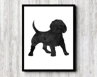 Watercolor Beagle Wall Art - Beagle Silhouette Art Poster - Dog Wall Decor - Black Dog - Pet Art Print - Dog Lovers Gift - Monochrome Art