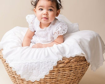 Christening Blanket 'Lily', White Lace Baptism Blanket