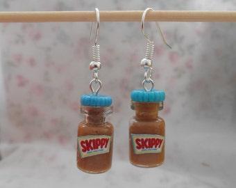 Skippy peanut butter miniature jar charm earrings